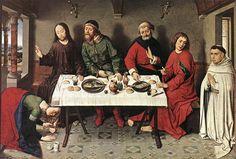 DIERIC BOUTS, pittore olandese. Cristo in  casa di Simone il Fariseo, 1440 ca, olio su tavola di quercia. Dimensioni 40x5,61 cm. Oggi lo si può trovare a Berlino al Gemäldegalerie.