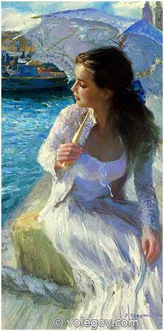 PIER VALETTA Painting / Artist Vladimir Volegov, Russian Impressionist.