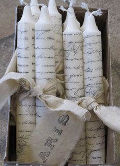 paris french script hand-stamped shabby chic candles featured in Good Housekeeping on Etsy, $6.00