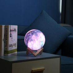 6 Colors remote control Print Star Moon Lamp Colorful Change Touch Home Decor Creative Gift Usb Led Night Light Galaxy Lamp Theme Galaxy, Galaxy Colors, Galaxy Decor, Light Luz, 3d Light, Lamp Light, Lampe Tactile, Lampe 3d, Teenage Room Decor