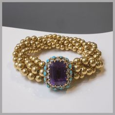 Cartier. Bracelet - 1958 - Signed, numbered - Coming from the estate of Baroness Alain de Rothschild. Gold, amethyst, turquoise, diamonds.