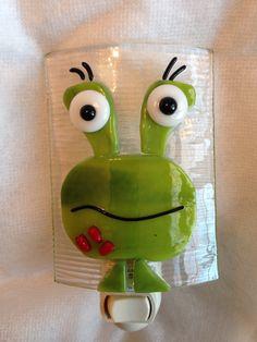 Nightlight Fused Glass Friendly Green Monster by cheecheesglass, $20.00