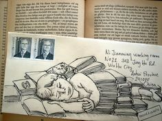 mail art - asleep in a pile of books... sweet dreams