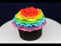 Rainbow Cupcakes! Make these Rainbow Ruffle Cupcakes to match our Rainbow Ruffle Cakepops - YouTube
