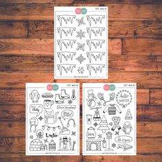Three sheets of Winter stickers in a kit!  These planner stickers are designed to fit various planners including but not limited to Erin Condren, Happy Planner, Day Designer, Inkwell, Plum Paper and Filofax!  - Each sheet is approximately 5.7 x 4.3 inches (or 14.5 x 11 cm). - All