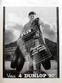 DUNLOP Tires vintage advertising retro poster from 1937 by OldMag