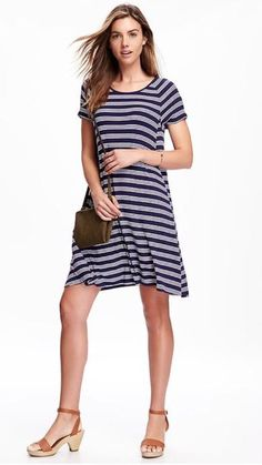 e2ea58ddecac7d NWT Old Navy Women s Petite Rib-Knit Swing Dress white and navy Striped PS  PM