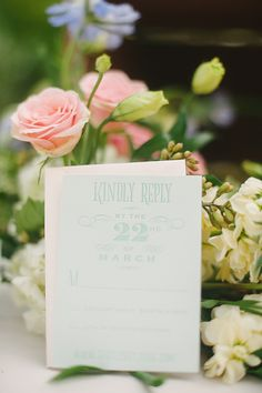 Mint wedding invites from Ladyfingers Letterpress http://www.weddingchicks.com/2013/09/20/vintage-destination-wedding/