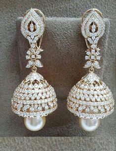 White Gold Round-Cut Diamond Stud Earrings J-K Color, Clarity) Indian Wedding Jewelry, Indian Jewelry, Bridal Jewelry, Diamond Jhumkas, Diamond Earing, Stylish Jewelry, Fashion Jewelry, Ring Set, Schmuck Design