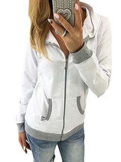 18e0dda579a84 UUYUK Women's Casual Contrast Zipper Long Sleeve Hooded Sweatershirt Jacket  Winter Jackets Women, Coats For