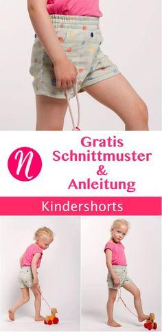 Einfache Shorts für Kinder - für Mädchen und Jungs ❤ raffiniert mit Punkten ❤ DIY - selber nähen Gr. 106 - 112 ✂ Jetzt Nähtalente.de besuchen ✂ Free sewing pattern for boys & girls shorts in size 106 - 112.