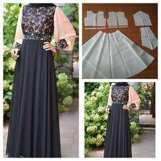 Dress with puff sleeve and flare skirt pattern Order by line : modelliste #modellistepattern#gamis#polagamis#poladresspanjang#polatangan #pola #polabaju#jualpola#poladress #moslemwear#longdress#puffsleeve