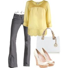 Yellow, Gray, White, created by styleofe on Polyvore... Want this! All of it!