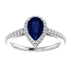 14k Pear Blue Sapphire Engagement Ring, Diamond Halo Engagement Ring, Conflict Free, White Gold, Yellow Gold, Rose Gold, Platinum