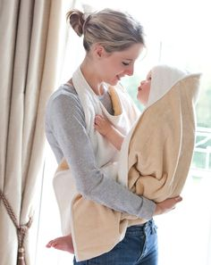 Cuddledry 'hands free' baby bath towel in classic oatmeal colour