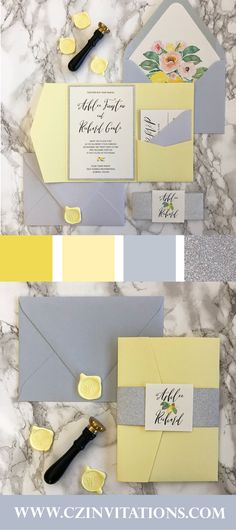 Light Yellow and Dusty Blue are the prefect spring and summer wedding colors! These pocket invitations with watercolor lemon florals are so fun and unique! The wax seal Grey Wedding Theme, Yellow Wedding Colors, Summer Wedding Colors, Summer Weddings, Yellow Wedding Invitations, Glitter Invitations, Wedding Stationery, Dusty Blue, Light Yellow Weddings
