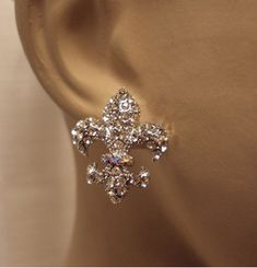 Fleur de Lis Crystal Stud Earrings