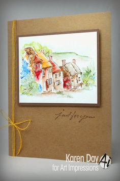 WC Series 6 Set 2 - Sku#3498 Art Impressions Wonderful Watercolor.  Water color handmade card of English countryside town.