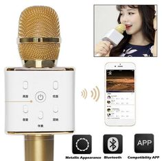 94.05$  Buy now - http://alirmh.worldwells.pw/go.php?t=32758260200 - 2016 Hot Sale Original Wireless Bluetooth Q7 Microphone Self-Karaoke Support Mobile Phone Laptop Home KTV