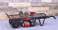 Reclaimed Wood Dolly Coffee Table, Industrial Coffee Table   Industrial, Coffee and Tables