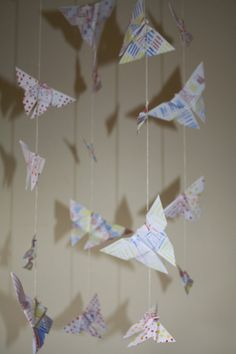 Origami Butterflies Handcrafted, handpainted. Shadows. Installation.