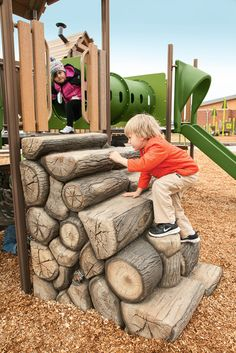 The PlayShaper® Log Stack Climber adds a new way to climb on your nature-inspired playground. Landscape Structures uses amazingly realistic textures created from durable, hand-painted concrete to offer a natural look and feel that blends into the environment. #play #fun #kids #nature #climb