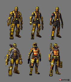 Concept art for Borderlands 2 for Enemy Hyperion Engineer, first sketch set