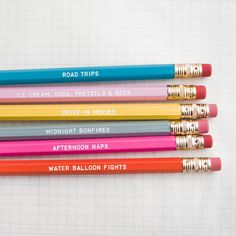 These days of summer pencils list things we're so looking forward to.
