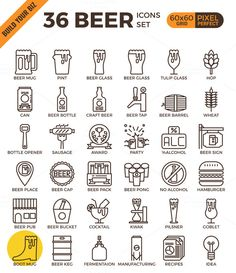 36 Craft Beer outline icons by Becris on @creativework247