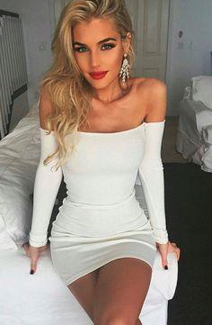 vestidos 2016 autumn dress sexy off shoulder cotton party dresses women white bodycon dress robe longue femme vestido de festa Sexy Dresses, Cute Dresses, Beautiful Dresses, Short Dresses, Cute Outfits, Tight Dresses, Bandage Dresses, White Bodycon Dresses, Long Sleeve Dress Bodycon