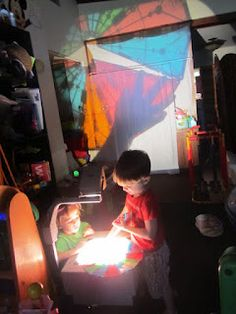 magna tiles on the overhead projector!