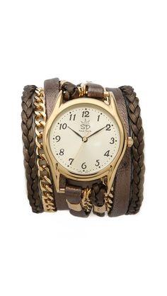 Sara Designs Metallic Leather & Chain Wrap Watch