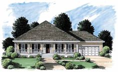 Eplans Low Country House Plan - Long Covered Porch - 1500 Square Feet and 3 Bedrooms(s) from Eplans - House Plan Code HWEPL05960