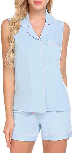 ce10dbde6c87ff Mae Women s Sleepwear Vintage Thermal Loose Fit Henley Pajama Set ...