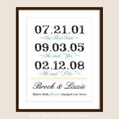Important Love Story Dates First date, proposal date, and wedding date!! love this saying Would be cute in our room