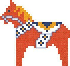 free dala horse counted cross-stitch plus lots of other free swedish-style patterns, including Jul