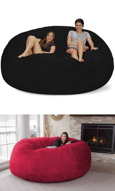 Literally just chill. Its more fun when you can share your big bean bag when watching the big game. Comfort and style Bean Bag Chair Big Bean Bags, Giant Bean Bags, Giant Bean Bag Chair, Puf Grande, Big Sofas, House Ideas, Ikea Chair, My New Room, Room Chairs