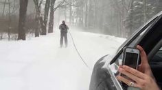 Skiing behind an Audi in Maine during the Blizzard Juno