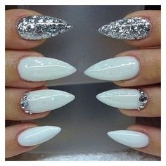 White nails, silver nails, stiletto nails, false nails, press on... ❤ liked on Polyvore featuring beauty products, nail care and nail treatments #SummerNails