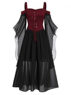 Womens Plus Size Cold Shoulder Butterfly Sleeve Lace Up Halloween Dress Irregular Mesh Lace up Dress Waist Gothic Shoes-Jewelry Shoes-Jewelry Apparel Sets Shoes-Jewelry Halloween Dress, Halloween Kostüm, Gothic Halloween, Women Halloween, Toddler Halloween, Halloween Costumes, Plus Size Vintage Dresses, Plus Size Dresses, Long Dresses
