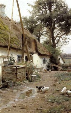 Ænder ved et bondehus - Peder Mørk Mønsted Watercolor Landscape, Landscape Paintings, Watercolor Art, Farm Paintings, Cottage Art, Watercolour Tutorials, Old Farm, Beautiful Paintings, Country Life