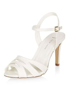 Wide Fit White Lattice Front Heeled Sandals | New Look