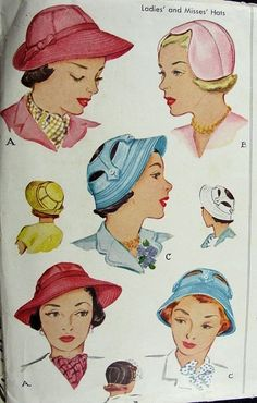 1940s  HATS PATTERN 3 UNIQUE STYLES McCALL 1506