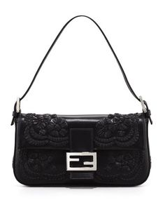 Fendi Embroidered Leather Baguette Shoulder Bag