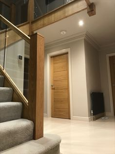 Home renovation including new Oak doors throughout and a Solid Oak staircase refurbishment incorporating toughened glass panels. Stairs And Doors, Oak Stairs, Doors And Floors, Stairs With Glass Panels, Oak Doors With Glass, Solid Oak Doors, Oak Interior Doors, Door Design Interior, Stairs Refurbishment