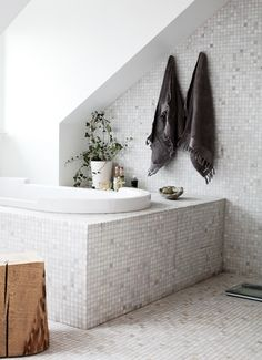Amazing Casual Nordic Interior In Black, White And Grey : Casual Nordic Interior In Black, White And Grey With Bathroom Wall Bathtub Window Towel Chair Ceramic Floor Candle Plant Decor Relaxing Bathroom, Attic Bathroom, Small Bathroom, Bathroom Ideas, Neutral Bathroom, Design Bathroom, Bathroom Fixtures, Tile Design, Bathroom Interior