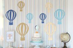 Hot Air Balloon themed birthday party : Backdrop