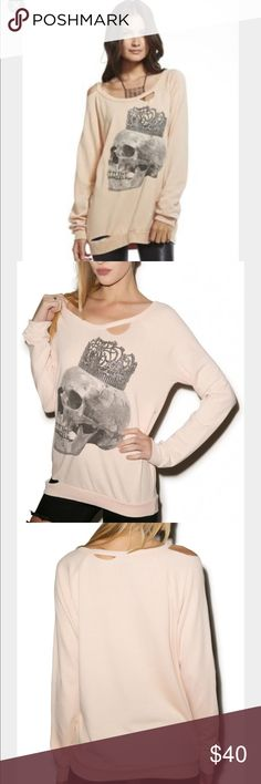 CHASER Crowned Skull Sweater! Chaser Crowned Skull Sweater. Super soft, fleece inside, A few rips around the sweater! Oversized and comfy. 50% polyester, 50% rayon. Chaser Tops Sweatshirts & Hoodies