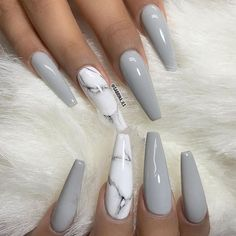 Why do acrylic nails always look way better then natural nails? There is just something about acrylic nails that are simply fabulous and we have found a bunch of awesome acrylic nail designs. Gorgeous Nails, Pretty Nails, Amazing Nails, Perfect Nails, Stone Nails, Sculpted Nails, Gray Nails, Black Nails, Best Acrylic Nails