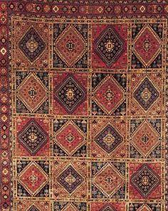 Yalameh,Persien ca 288 x 203 cm. Wolle auf Wolle.
